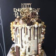 The Queens of all things naughty but nice @finchbakery  and our gold topper is perfectly immersed in pure decadence #standard #engagementcake #bespoke #lasercutcaketopper #finchbakery #etchedstudio #delicious
