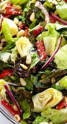 Antipasto Salad - Artichokes, roasted red bell peppers, red onions, pine nuts and Parmesan Cheese Easy Meals For Kids, Kids Meals, Red Wine Vinaigrette, Healthy Soup Recipes, Salad Recipes, Cooking Red Lentils, Potato Soup, Summer Recipes, Allrecipes