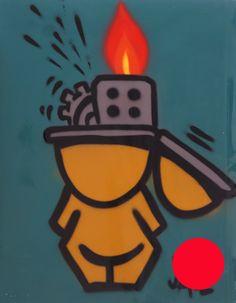 JACE | Sans titre | -  | 2012 | Aérosol sur plaque de tôle | 74,5 x 58 cm | Oeuvre encadrée dans une caisse américaine noire | VENDUE