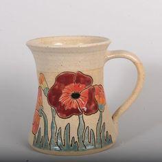 Handmade Ceramic Mug 300 ml (poppies – tall) - PURRFECT CERAMICS