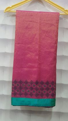 Soft tissue saree with kutch work border with border color blouse | Buy online Sarees | Elegant Fashion Wear