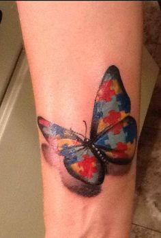 "Tanya Buhl's Ink4Autism ""For my beautiful son Jacob, by Black Anvil Tattoo, Fort Wayne Indiana"" Incredibly beautiful autism butterfly!"