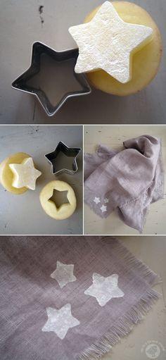 ジャガイモをクッキーの型で抜いて、星のスタンプに。この方法なら型抜き次第で、簡単にいろんな形が出来ちゃいます。不器用さんでもOKですね。ストールやハンカチのワンポイントにするのも素敵です。