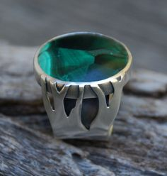 Branching Ways - malachite and sterling silver ring