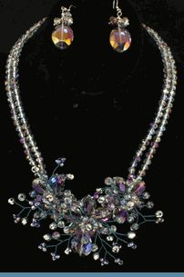 Vintage Style Purple Silver Iridescent Glass Bead Floral Necklace with Earrings $38 @ www.whimzaccessories.com