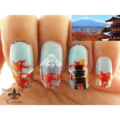 November is a maple season in Japan and I wanted to create something that depicts its beautiful scenery Not sure how I feel about this, but at least I tried Mt Fuji is freehand, the maple trees are stamped with Chez Delaney Asiatique 001 plate, and the tower is from @moyou_london Suki 02. Stamping polishes are @mundodeunas Reddish, Yellow, Orange & Black. Stay tuned for tutorial