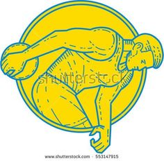 Mono line style illustration of a discus thrower athlete throwing viewed from the side set inside circle on isolated background. #discusthrow #monoline #illustration