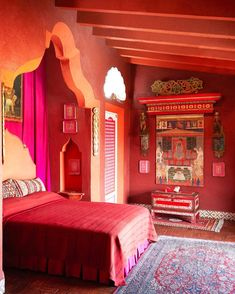 Bold and beautiful! Bringing you Color inspiration from the Oriental Room at Robert Brady's Home (now preserved as a museum) in Cuernavaca,… India Inspired Bedroom, India Colors, Ideal Home, Red Gold, Color Inspiration, Color Combinations, Canopy, Oriental, Sweet Home