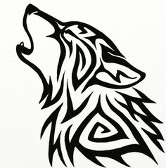 noch ein schön aussehender schwarzer wolf tattoo   wolf tribal, ein heulender wolf