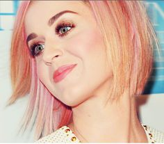 Katy Perry short layered bob with a 2013 pastel pink hair color