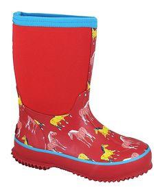 Red Horsin' Around Rain Boot - Kids