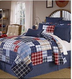 Cremieux  STANFORD Red, Blue, White  King Shams (2) Patchwork Plaid Quilted 1Q #Cremeiux