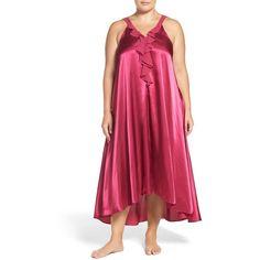 Plus Size Women's Oscar De La Renta Sleepwear Charmeuse Nightgown ($74) ❤ liked on Polyvore featuring plus size women's fashion, plus size clothing, plus size intimates, plus size sleepwear, plus size nightgowns, mulberry, plus size, oscar de la renta, plus size sleep gowns and full length nightgown