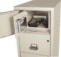 FireKing 4-2131-CSF 4 Drawer Legal W/ Safe-in-a-File Fire/Impact Resistant Vertical File by Fire King. $2795.00. The Safe-In-A-File's design cleverly conceals a 2.4 cubic foot, burglary-resistant safe behind a false top drawer panel. Both files include UL 1 Hour fire and impact rating. Exterior is available in nine standard colors. The interior is parchment. Safe-in-a-File models may have key or e-lock options installed in regular drawers, but outer safe door (false d...