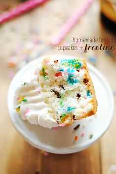 Funfetti Cupcakes and Frosting are so easy to make from scratch and taste so much better than the store-bought version!