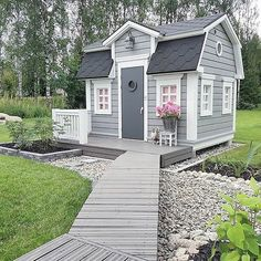 Why is this gorgeous outdoor cubby not in my backyard, I'm pretty sure I'd much move in! The footpath, the front deck, even the dang door is perfection! Hope you lovelies had a happy hump day xx. Backyard Playhouse, Build A Playhouse, Light Blue Houses, Cabana, Tiny House Exterior, Wendy House, Farmhouse Paint Colors, Tiny House Cabin, Backyard For Kids