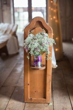 Union Hill Inn: Pews dressed up for the occasion with simple, tin can florals. Rustic barn wedding. Photo by: http://www.joleenwillis.com