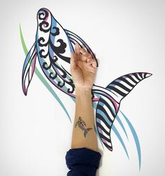 Dancing Whale Temporary Tattoo /  Whale Temporary by EasternCloud