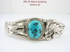 Estate RB Navajo Sterling Silver 925 Eagle & Feather Turquoise Cuff Bracelet #RB #Cuff