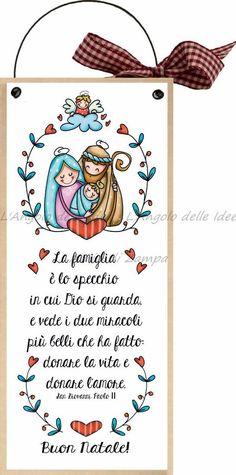 """formelle con ferretto cm 10x24 """"Buon Natale! La famiglia è lo specchio in cui Dio si guarda e vede i due miracoli più belli che ha fatto donare la vita e donare l'amore"""" San Giovanni Paolo II: Amazon.it: Casa e cucina"""