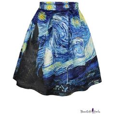 Summer Famous Painting Print A-Line Skirt ($12) ❤ liked on Polyvore featuring skirts, bottoms, patterned skirt, summer skirts, blue skirt, blue print skirt i print skirt