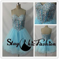 Blue Strapless Rhinestone Beaded Corset Style Top A Line Princess Party Dress