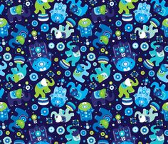 Blue boy elephant and hand of fatima pattern fabric by littlesmilemakers on Spoonflower - custom fabric
