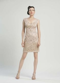 Champagne Embroidered Cap Sleeve Fitted Short Prom Dress - Unique Vintage