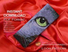 SALE 15% OFF - Loom Pattern Bracelet Cuff Beading Miyuki Delica Size 11 Beads - PDF Download - Cats Russian Blue Eye