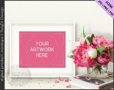 Styled Table with Peonies, Magazines & Gold Confetti | 8x10 White Landscape Frame Mockup | Styled Stock Photography | JPG PNG Smart object