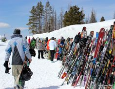 Skis lined up outside the Mountain Top Picnic at @TasteofVail. Top 5 reasons to attend the Taste of Vail. http://www.heiditown.com/2015/03/18/the-top-5-reason-to-attend-the-taste-of-vail/ HeidiTown.com