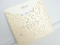 Wedding Invitation, Laser Cut Wedding Invitation, Laser Cut Wedding Invite, Wedding Invite, Vintage Wedding Invitation, POCKET - IVORY by LavenderPaperie1 on Etsy https://www.etsy.com/listing/267567742/wedding-invitation-laser-cut-wedding