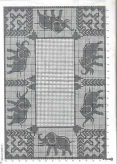 Free Filet Crochet Elephant Pattern : Vintage crochet pattern Elephant square for bedspread pdf ...