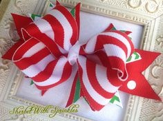 Bright Christmas Striped Hair Bow Holiday by sherbetwithsprinkles, $5.00