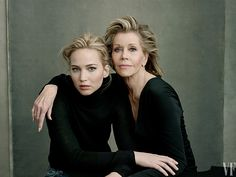 Jennifer Lawrence and Jane Fonda pose for Vanity Fair's 2016 Hollywood Issue by Annie Leibovitz