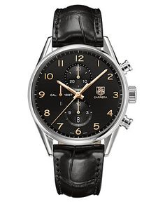 TAG Heuer Watch, Men's Swiss Automatic Carrera Calibre 1887 Black Alligator Leather Strap 43mm CAR2014.FC6235 - TAG Heuer - Jewelry & Watches - Macy's
