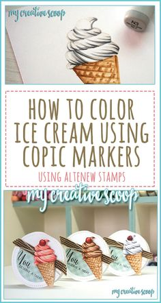 How to color ice cream using Copic Markers and Altenew Stamps Copic Marker Art, Copic Pens, Copic Sketch Markers, Copics, Copic Markers Tutorial, Spectrum Noir Markers, Color Of The Day, To Color, Coloring Tips