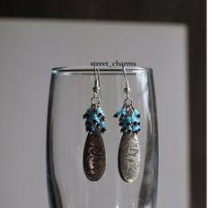 Beaded Metal drop earrings