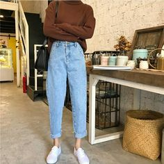 To School Outfit jeans Comfy Jean Outfits Bequeme Jean-Outfits Mode Outfits, Retro Outfits, Fall Outfits, Vintage Outfits, Casual Outfits, Fashion Outfits, Vintage Jeans, Korean Spring Outfits, Fashion Vintage