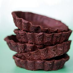 Chocolate cookie tart shells, a blank canvas you can use as the basis for any dessert. Fill with ice cream, ganache, pudding or pastry cream