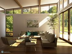 Living Room With Large Windows Design Ideas Grey Sofas Large Glass Windows High Ceiling Small Glass Table