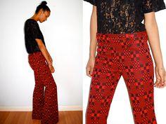 Vtg 70s High Waist Checkered Red & Black Bell by LuluTresors, $49.99