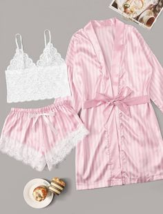 To find out about the Floral Lace Striped Lingerie Set With Robe at SHEIN, part of our latest Sexy Lingerie ready to shop online today! Plaid Pajamas, Cute Pajamas, Pajamas Women, Pyjamas, Cute Sleepwear, Lingerie Sleepwear, Nightwear, Sleepwear Women, Lingerie Bonita