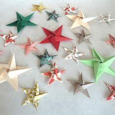 Tuto DIY stickers étoiles en origami pour décoration murale chambre bébé fille garçon enfant - rouge, or, vert, noir
