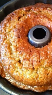 Crack Cake -Crack Cake 1 box yellow cake mix, 1/4 c brown sugar, 1/4 c white sugar, 1 box instant vanilla pudding mix, 2 t cinnamon, 4 eggs, 3/4 c water, 3/4 cup oil, 1/2 c white wine. Glaze: 1 stick butter, 1 c sugar, 1/4 white wine, melt together and pour over hot cake...