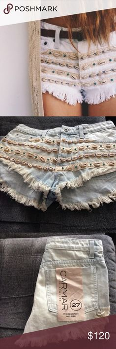 LF Carmar shell denim mid rise rigid denim shorts LF Carmar shell denim mid rise…