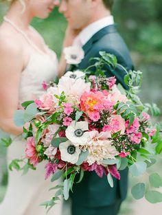 Gorgeous bouquet of Cafe Au Lait dahlias, anemones, roses and eucalyptus ~ we ❤ this! moncheribridals.com