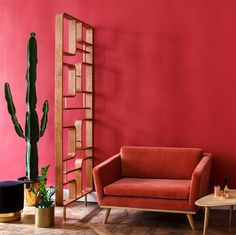 Petit canapé rouge en velours dans un salon rouge avec séparation. Idéal pour une décoration de salle d'attente → touslescanapes.com