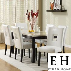 ETHAN HOME Mendoza 7 Piece Dining Set with White Keyhole Chair - contemporary - dining tables - Overstock