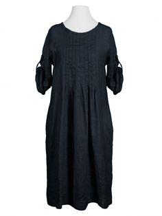 Damen Leinekleid mit Biesen, schwarz von Made in Italy bei www.meinkleidchen.de